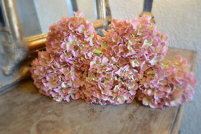 Bunch of 5 Antique Vintage Pink Hydrangeas, Artificial Luxury Faux Silk Flowers