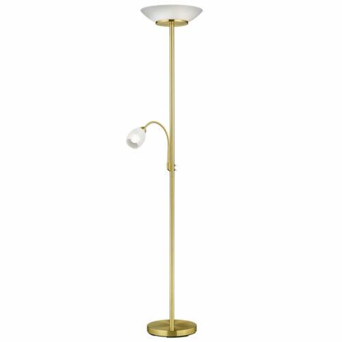 RGB LED Decken Fluter dimmbar messing Steh Leuchte Glas Lampe weiß Fernbedienung