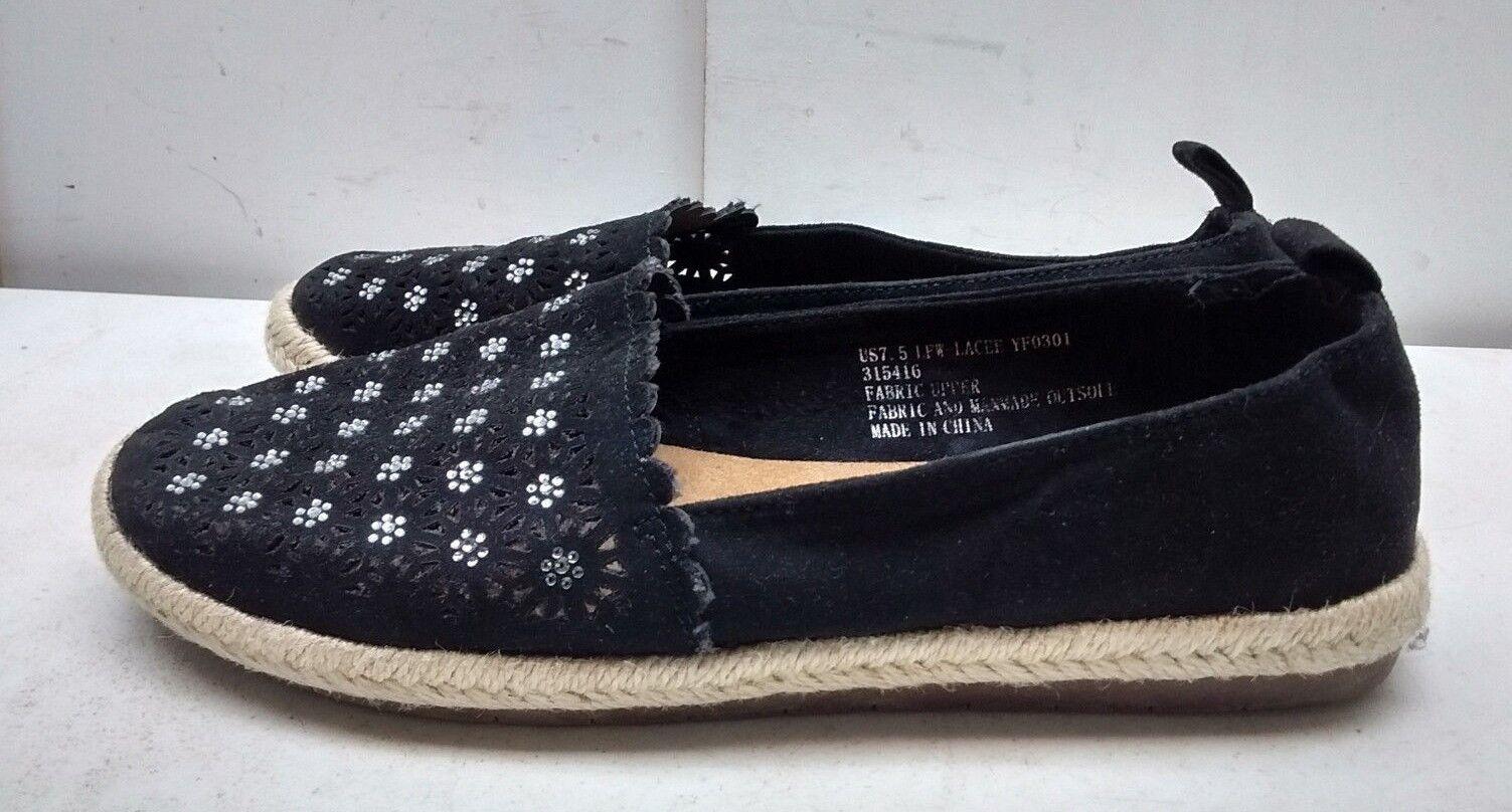 London Fog Lacee Lacee Lacee Mujer Negro Lona Slip on Flat Alpargatas Informales Zapatos 7.5M  grandes ahorros