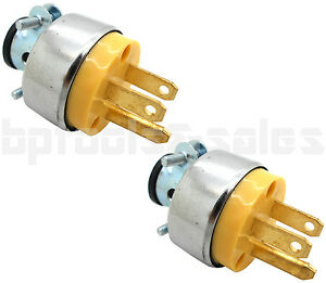 2pc male extension cord replacement electrical plugs 15amp 125v end rh ebay com