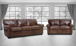 Details about New Luke Leather Italian Brown Down 2 pc Sofa Set - Sofa and  Loveseat \
