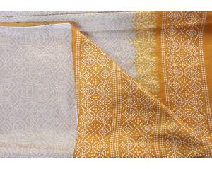Vintage-Beige-Saree-Pure-Crepe-Silk-Printed-Sari-Craft-5-Yard-Fabric-Indian-Art
