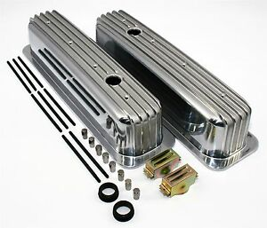 SBC-350-Vortec-amp-TBI-Retro-Finned-Chevy-Tall-Aluminum-Valve-Covers-Center-Bolt