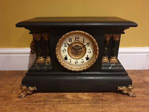 "Antique 19th Century Faux Marble Wooden ""Ingraham"" Mantel Clock (circa 1879 USA)"