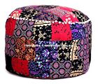 Round Ottoman Pouf Cover Mandala Multicolor Patchwork Bohemian Indian Decor poof