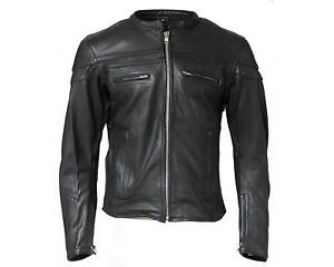 Classic Men/'s moto en cuir Noir Veste Moto