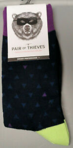 Pair-of-Thieves-Men-039-s-Crew-socks-Triangles-8-12-Blue-Purple-Green
