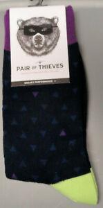 Pair of Thieves Men's Crew socks Triangles 8-12 Blue Purple Green
