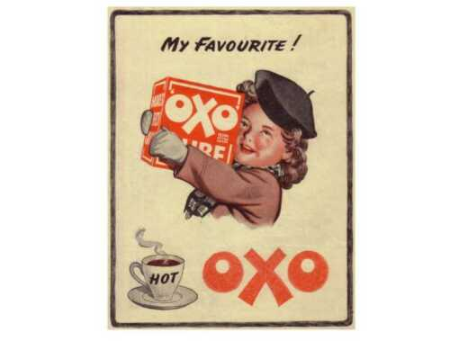 My favourite oxo cube retro vintage style metal wall plaque sign