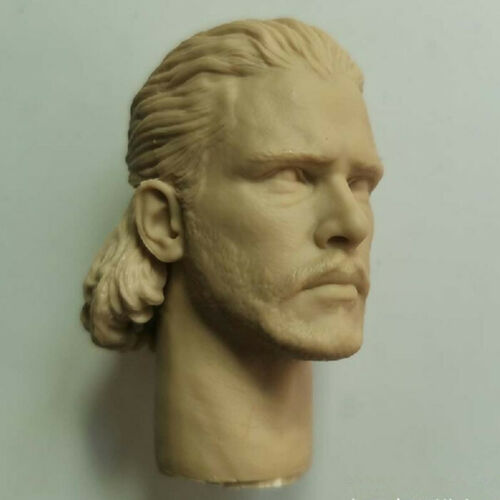 1//6 Unpainted Male Head Jon Snow PVC Carved Sculpt Model Toy For 12in Figure