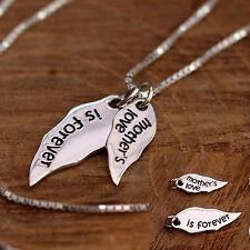 En Argent Sterling 925 Ange Aile & Mots Empilage Collier cadeau pour maman