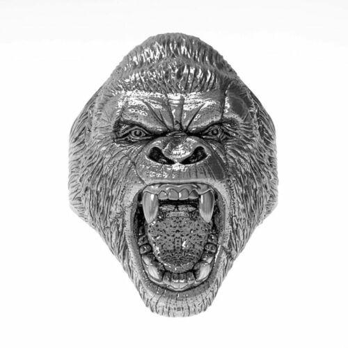 King Kong Gorila Cabeza Anillo Acero Inoxidable Gótico Punk Biker Hombre Mujer Joyas