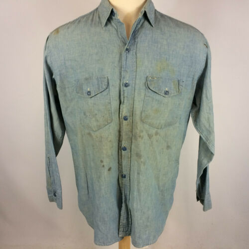 Vintage 40s 50s Sweet Orr Sanforized Chambray Deni