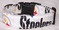 Wet Nose Designs White Pittsburgh Steelers Hand Made Dog Collar Football