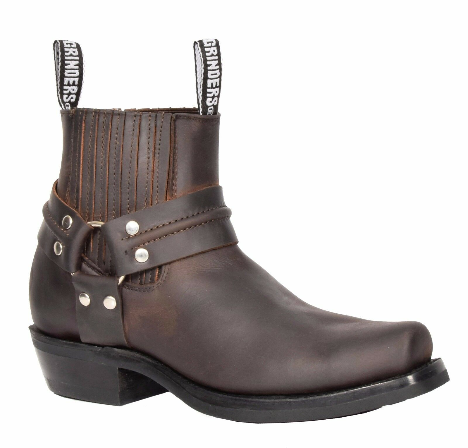 Mens braun Leather Ankle Biker Stiefel Slip On Square Toe Cowboy Grinders Stiefel