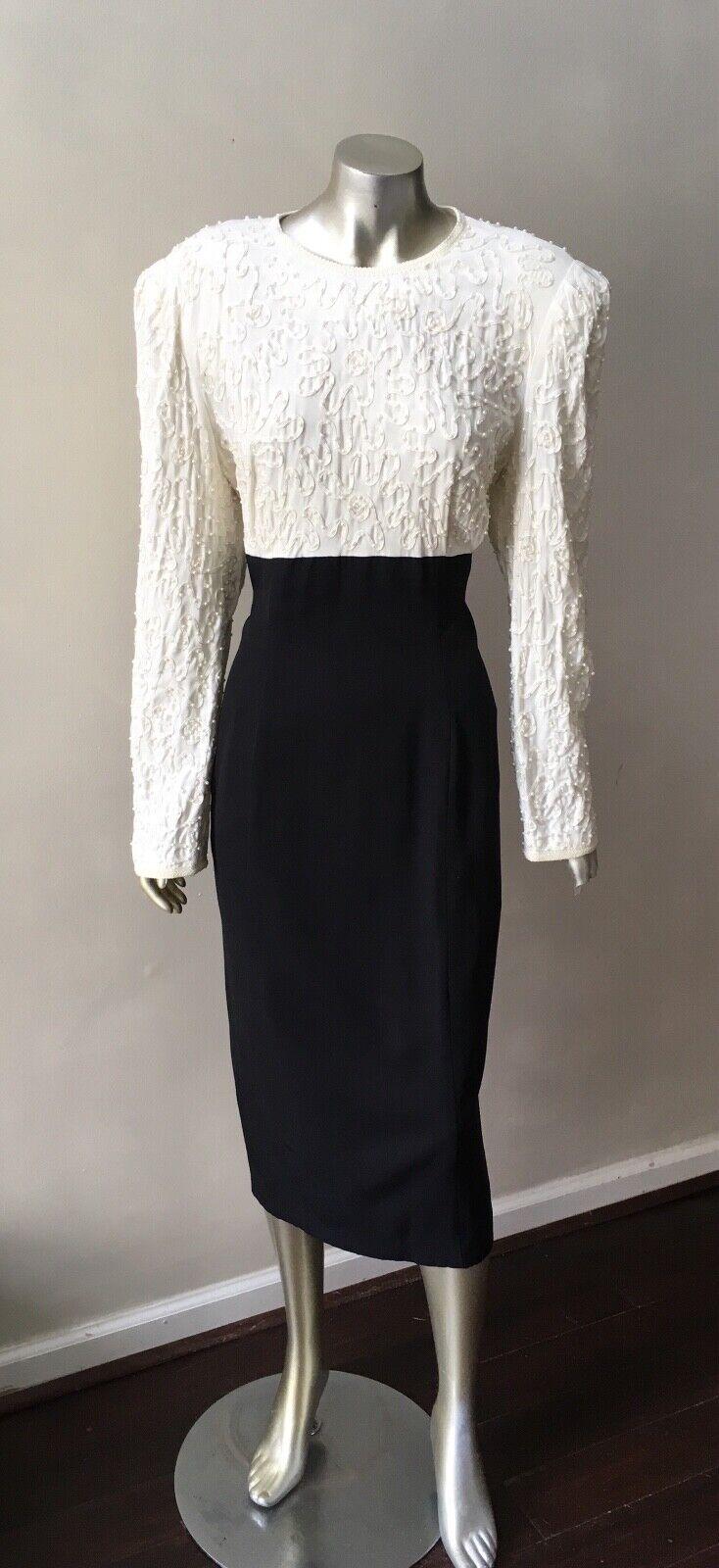 Pearl Beaded Vintage 90s Retro Formal Midi schwarz Weiß Party  Dress Sz 14