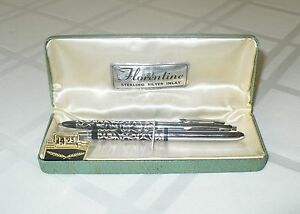 VINTAGE-034-FLORENTINE-034-PEN-amp-PENCIL-WRITING-INSTRUMENT-SET-STERLING-SILVER-INLAY