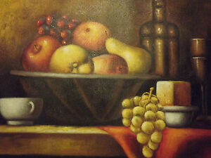 Still Life Fruit Bowl Wine Large Oil Painting Canvas Classic