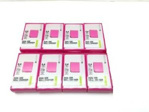 8-Pack-Lot-Dual-USB-2-4A-10W-Wall-Charger-Power-Adapter-IEC-ACP2U-PK-Pink