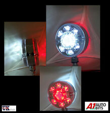 PAIR 12V 24 LED CHROME RED WHITE SIDE MARKER LIGHTS TRUCK TRAILER LORRY BUS VAN