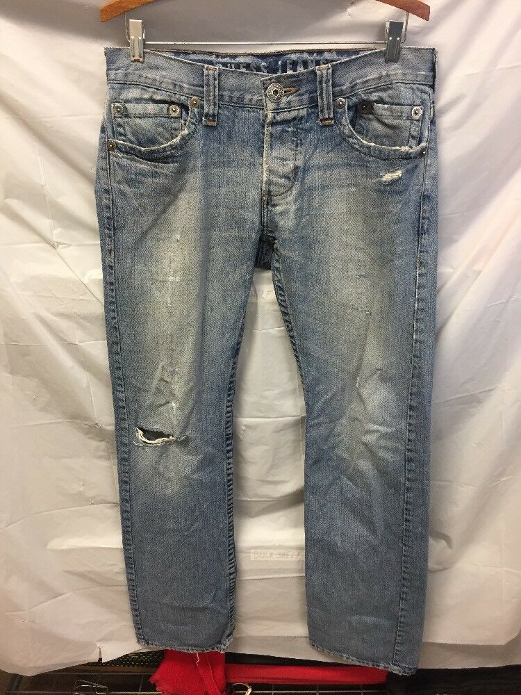 Guess Jeans Pasadena Straight Leg bluee Jeans Mens Sz 33x32 DISTRESSED