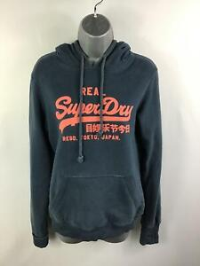 WOMENS-SUPERDRY-BLUE-LOGO-PRINTED-CASUAL-LONG-SLEEVED-JUMPER-HOODIE-SIZE-S-SMALL