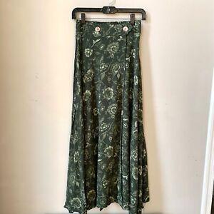 Vintage-Mediator-High-waist-Midi-Green-Floral-Skirt-w-Slit-Buttons-Sz-S