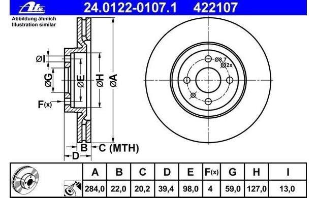 ATE Juego de 2 discos freno Antes 284mm ventilado para FIAT PUNTO 24.0122-0107.1