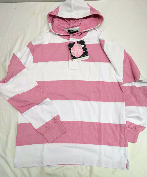 Charles River Unisex Rugby Hooded Pullover Pink/White sz XS [F6-9574]