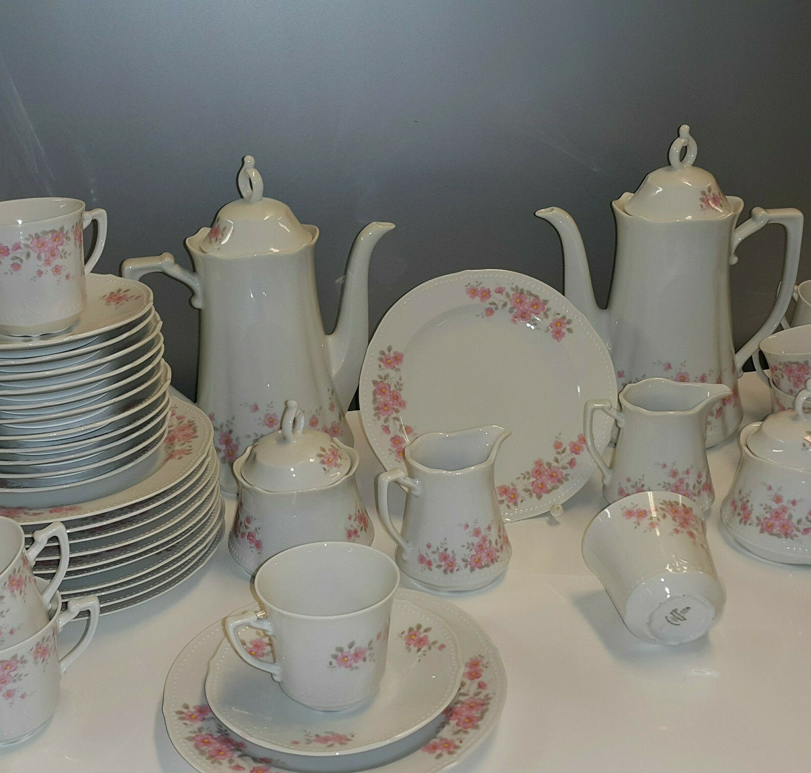 Service à café Winterling Porcelaine Blanc Rose Fleurs Perlrand 12 personnes