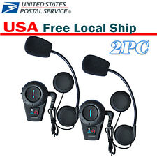 2x BT 500M Motorcycle Bluetooth Interphone Helmet Intercom Headset Boom Mic US