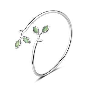 Argent Sterling 925 Élégant Époxyde Leaf Bangle Bracelet Women Fashion Jewelry-afficher Le Titre D'origine Et D'Avoir Une Longue Vie.