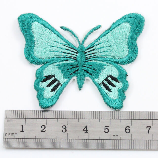 1 x IRON ON 50 x 65mm GREEN BUTTERFLY APPLIQUE DECORATIVE BADGE PATCH NATURE 017