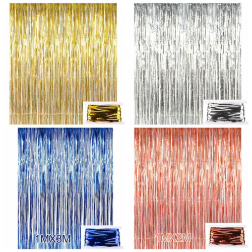 Shiny  Fringe Foil Tinsel Curtain Wedding Door Party Home Decor A#