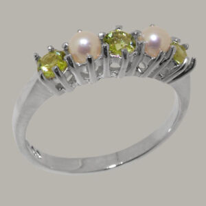 925-Sterling-Silver-Natural-Peridot-amp-Pearl-Womens-Eternity-Ring-Sizes-J-to-Z