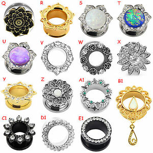 316L-Stainless-Steel-Double-Flare-Flesh-Ear-Tunnels-Plugs-Earlets-Ear-Gauges