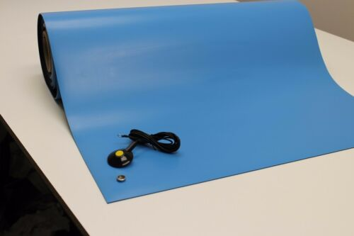 24 X 36 W//GROUND CABLE-BLUE 2LAYER RUBBER ESD ANTI-STATIC GROUNDING MAT