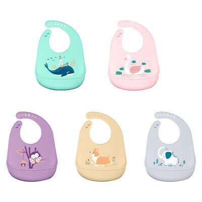 2X Silikon Lätzchen Babylätzchen Cartoon mit Auffangschale Babylatz Wasserdicht