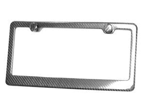 REAL-100-CARBON-FIBER-LICENSE-PLATE-FRAME-TAG-COVER-ORIGINAL-3K-With-Free-Caps