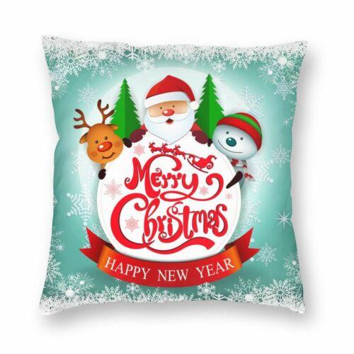Christmas Santa Claus Reindeer Velvet Throw Pillow Cover Sofa Cushion Case DIY