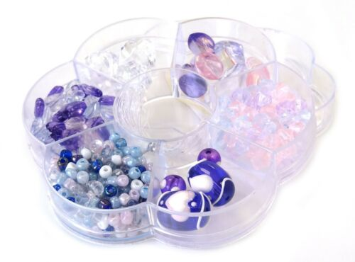 Bead Box Pastel Purple 6 different Variety Beads Heart kit bead box DIY Jewelry
