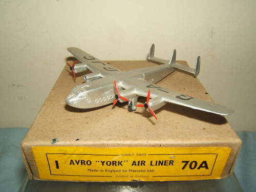 DINKY TOYS MODEL No.70a AVRO 'YORK' AIRLINER  VN MIB