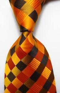 New-Classic-Checks-Gold-Black-JACQUARD-WOVEN-100-Silk-Men-039-s-Tie-Necktie