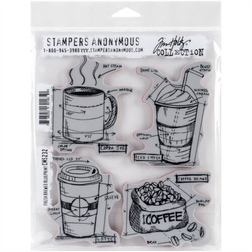 Cling Rbbr Stamp Set Fresh Brew Brewed Blueprint Tim Holtz Stamps Stampers