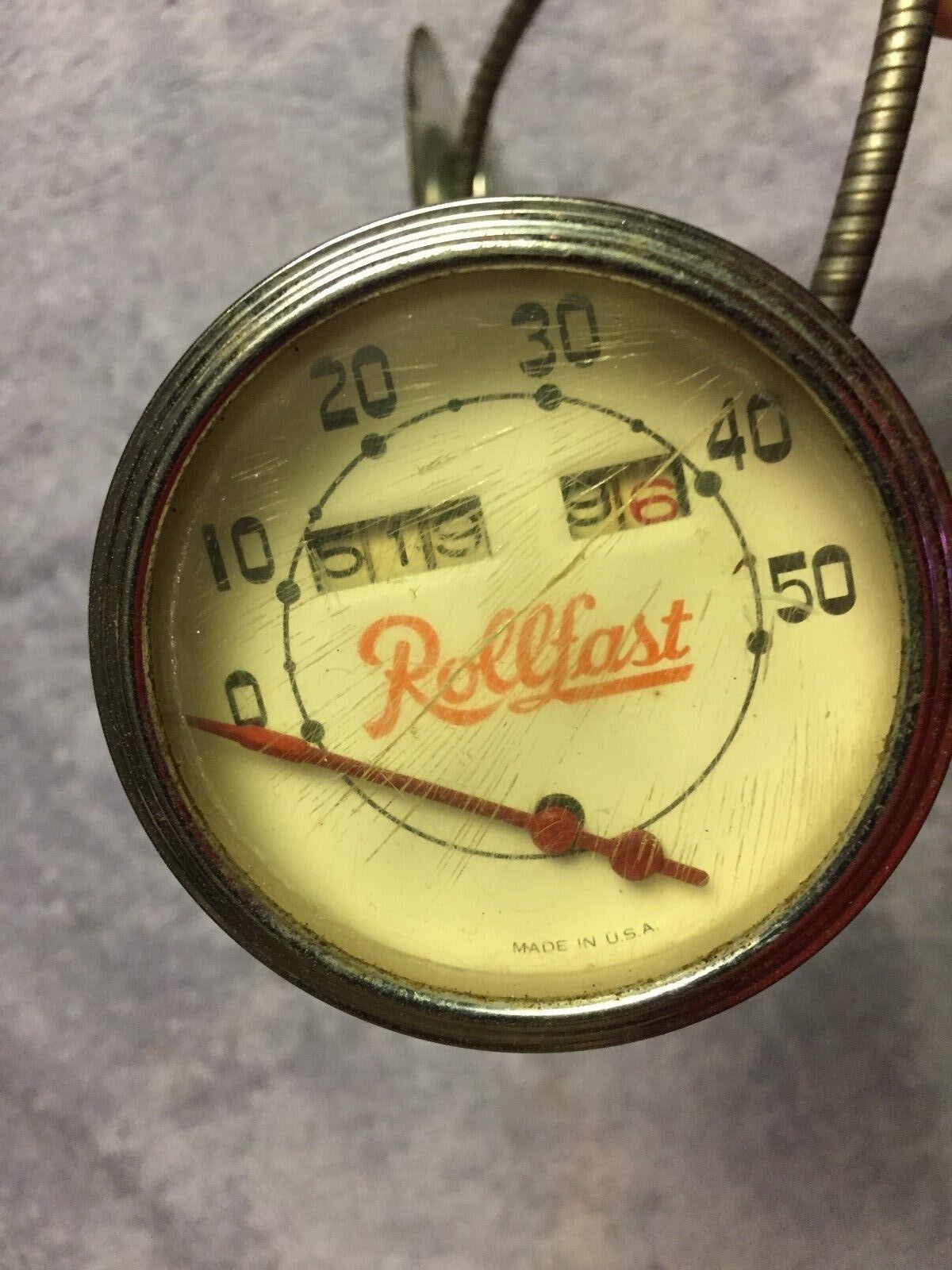 VINTAGE PREWAR ORIGINAL USA  ROLLFAST SPEEDOMETER WITH CABLE   DRIVE  export outlet