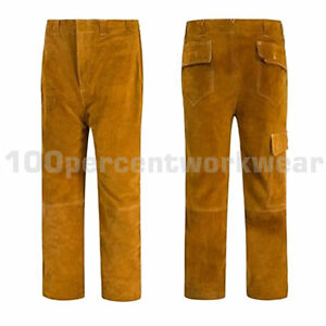 RHINOweld-Durable-Tan-Cow-Split-Leather-Welding-Welders-Trousers-Stitched-New
