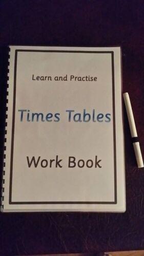 I tempi di tabelle LIBRO di lavoro-imparare e praticare-Pulisci-WTH secco cancellare Penna -1-12