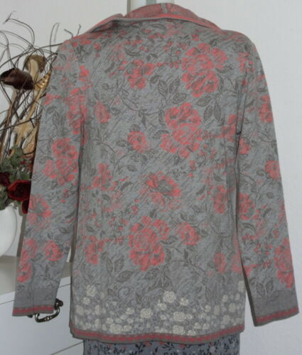 82518 Giacca Ivko Rosa Organici Cappotto Lunga Aperto Cardigan Cotone Fiori qqpFz