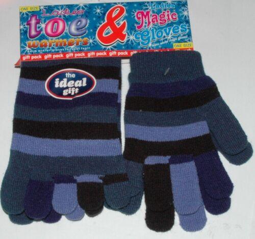Ladies Girls Toe Warmers Socks /& Magic Glove Set Funky striped One Size