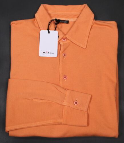 Ue M Kiton 50 Orange Polo Coton Neuf Maille Longue Manche 40 67wBnp
